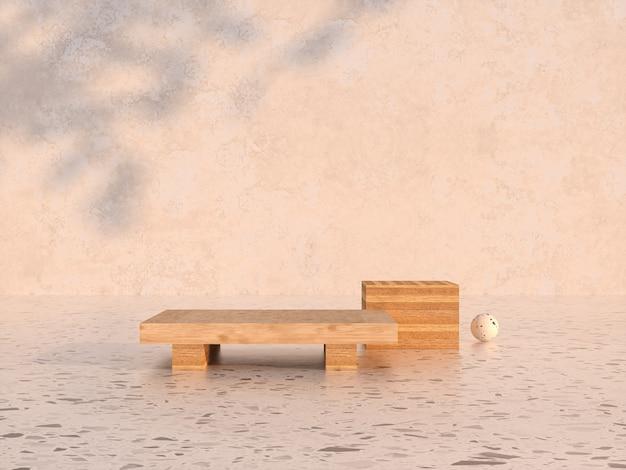 Natuurlijke schoonheid houten podium achtergrond 3d-rendering Premium Foto