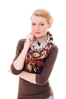 Natuurlijke schoonheid. jonge blonde vrouw op witte achtergrond