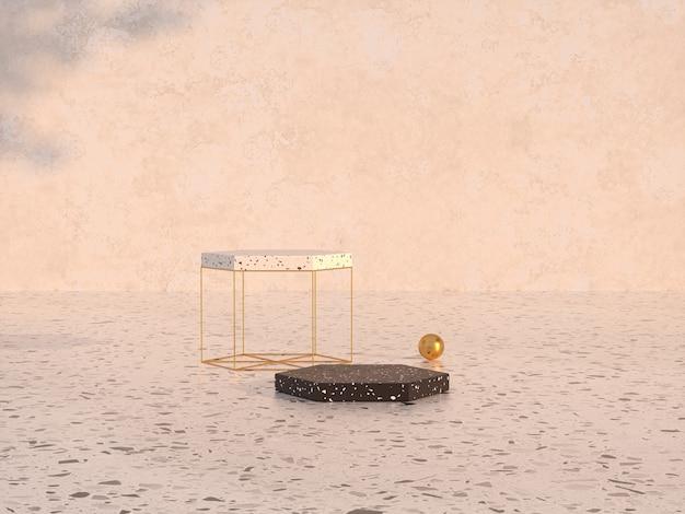 Natuurlijke schoonheid podium achtergrond met terrazzo en gouden getextureerde 3d-rendering