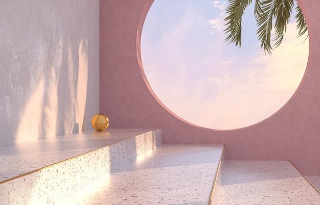Natuurlijke schoonheid podium achtergrond met tropische palmboom schaduw terrazzo textuur