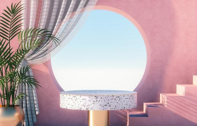 Natuurlijke schoonheid podium achtergrond voor productvertoning met terrazzo
