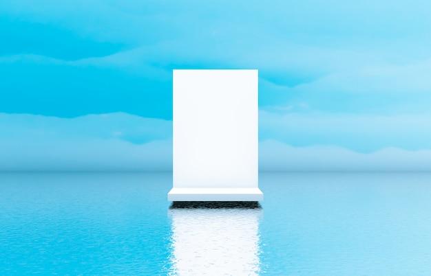 Natuurlijke schoonheid witte podiumachtergrond voor cosmetische productvertoning.