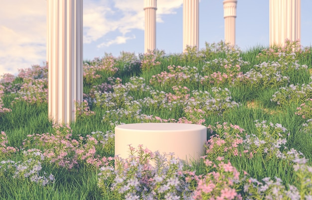 Natuurlijke schoonheidspodiumachtergrond met scène van het lentebloemgebied