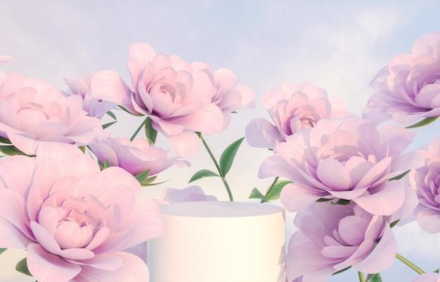 Natuurlijke schoonheidspodiumachtergrond voor productvertoning met roze roze bloem
