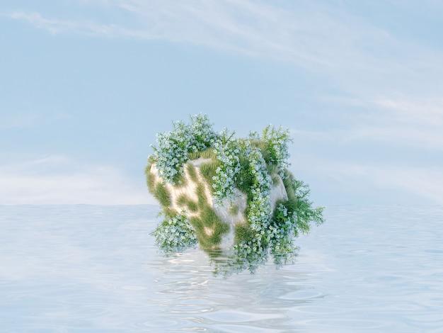 Natuurlijke schoonheidspodiumachtergrond voor productvertoning met steen en wilde bloem op het water
