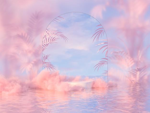 Natuurlijke schoonheidspodiumachtergrond voor productweergave met dromerige wolk en boogframe