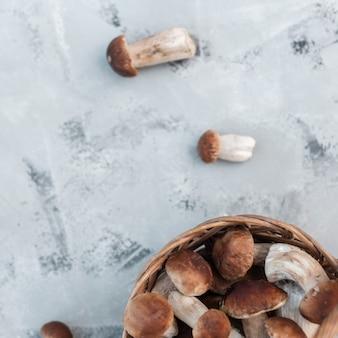 Natuurlijke verse champignons in een mand op een grijze achtergrond