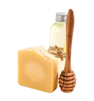 Natuurlijke zelfgemaakte honingzeep en olie