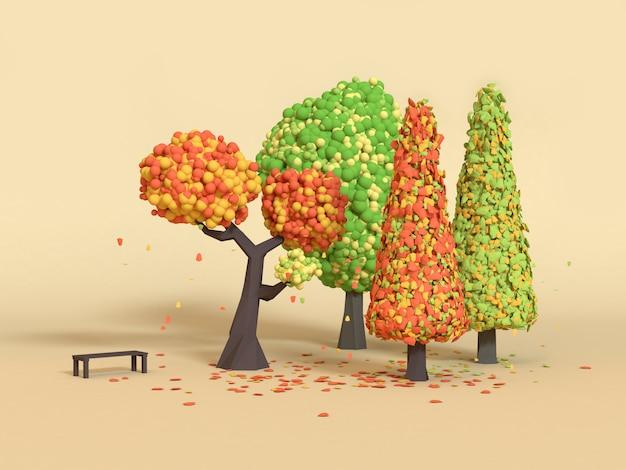 Natuurpark laag poly cartoon boom vallen / herfst 3d-rendering