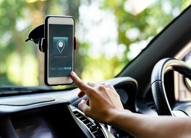 Navigatiesysteem applicatie op een telefoonscherm