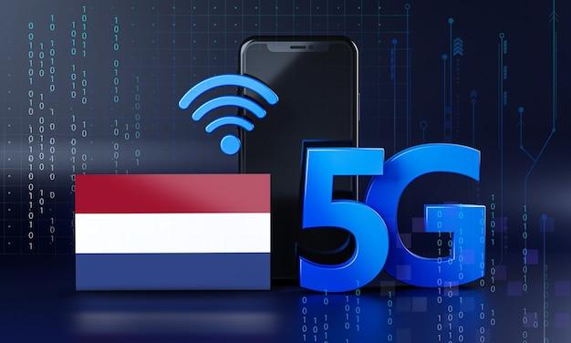 Nederland klaar voor 5g-verbindingsconcept. 3d-rendering smartphone technische achtergrond