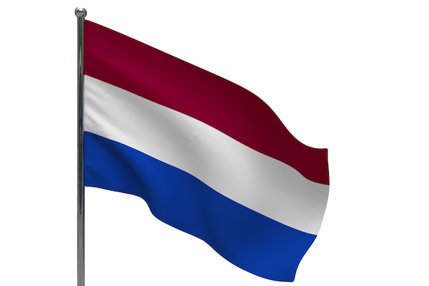 Nederlandse vlag op paal. metalen vlaggenmast. nationale vlag van nederland 3d illustratie op wit