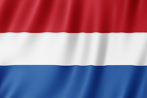 Nederlandse vlag zwaaien in de wind.