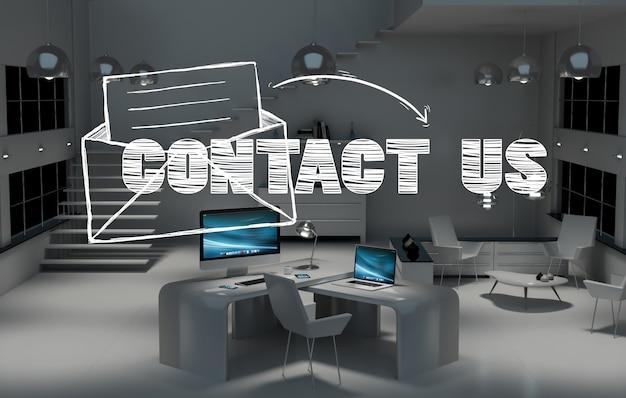 Neem contact met ons op concept in 3d-weergave op kantoor