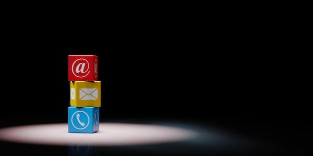 Neem contact met ons op kubussen in de schijnwerpers geïsoleerd