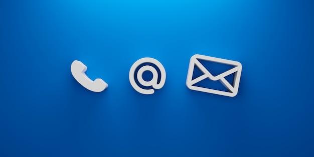 Neem contact met ons op. pictogram telefoon, adres en e-mail op blauwe achtergrond. 3d illustratie Premium Foto
