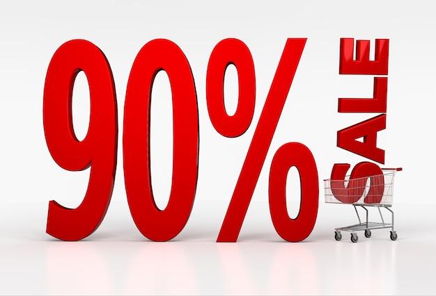 Negentig procent korting op kortingsbord in winkelwagen op wit. 3d render