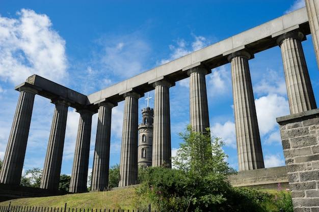 Nelson's monument & the national monument, edinburgh, uk
