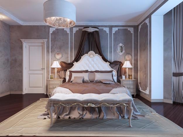 Neoklassieke slaapkamer met lijstwerk aan de muren