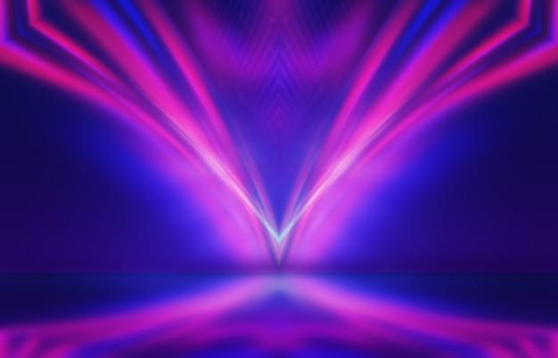 Neon abstracte lichtstralen op een donkere achtergrond lichteffect laser toont oppervlaktereflectie
