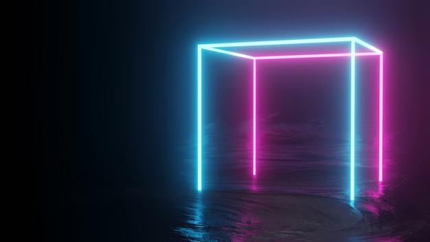 Neon achtergrond concept neon licht grunge achtergrond 3d-rendering kamer