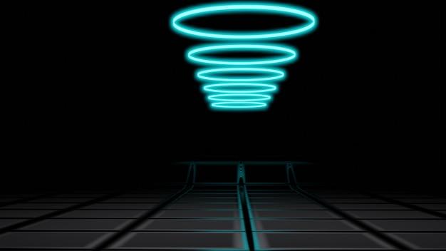 Neon achtergrond concept neonlicht, stenige achtergrond, lege ruimte, 3d-rendering
