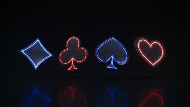Neon casino kaart past bij premium foto