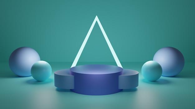 Neon driehoek groen wit 3d platform ontwerp