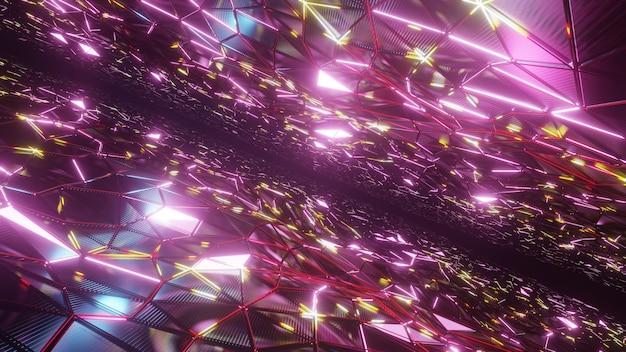Neon driehoek licht achtergrond voor reclame in scifi en technologie-innovatiescène