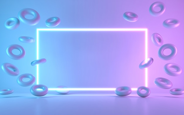 Neon frame bord met donut. 3d-rendering