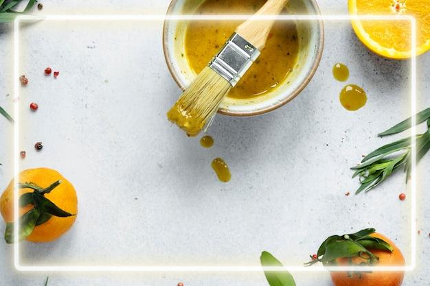 Neon frame met honing mosterd dressing achtergrond