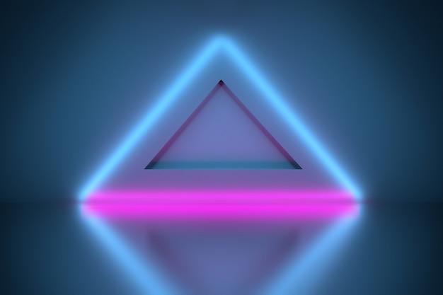 Neon gloeiende driehoeken over spiegelvloer