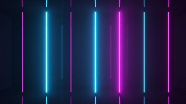 Neon halogeen blauw paarse lampen gloeien met futuristische heldere reflecties d illustratie