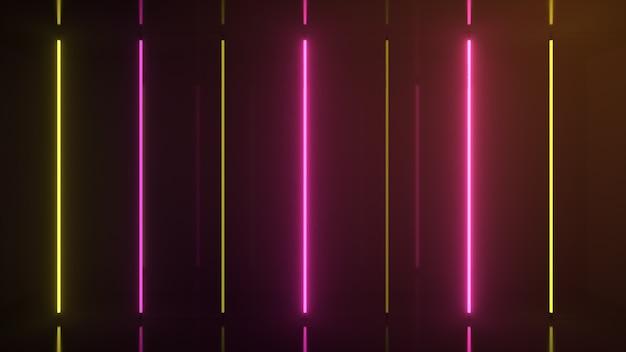 Neon halogeen regenboog geel roze lampen gloeien met futuristische heldere reflecties d illustratie