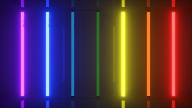 Neon halogeen regenboog veelkleurige lampen gloeien met futuristische heldere reflecties d illustratie