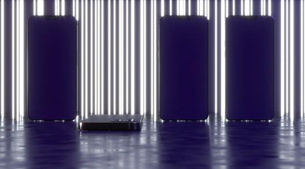Neon lijnen achtergrond met smartphones