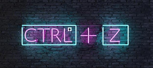 Neon met roze en blauw licht met ctrl + z-teken op donkere muur
