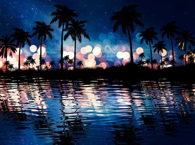 Neon palmboom, tropische bladeren. weerspiegeling van neonlicht in water Premium Foto