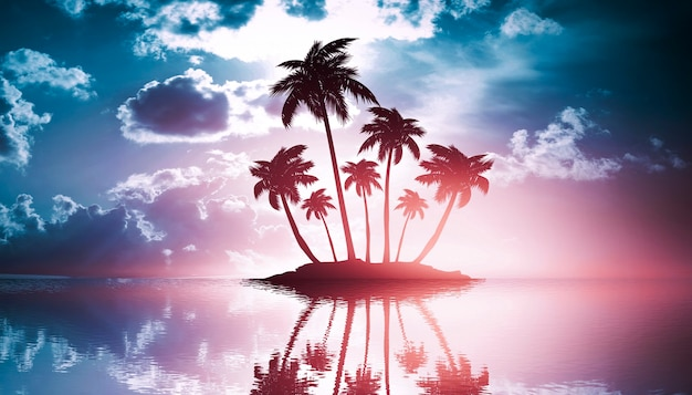 Neon palmboom, tropische bladeren. weerspiegeling van neonlicht in water