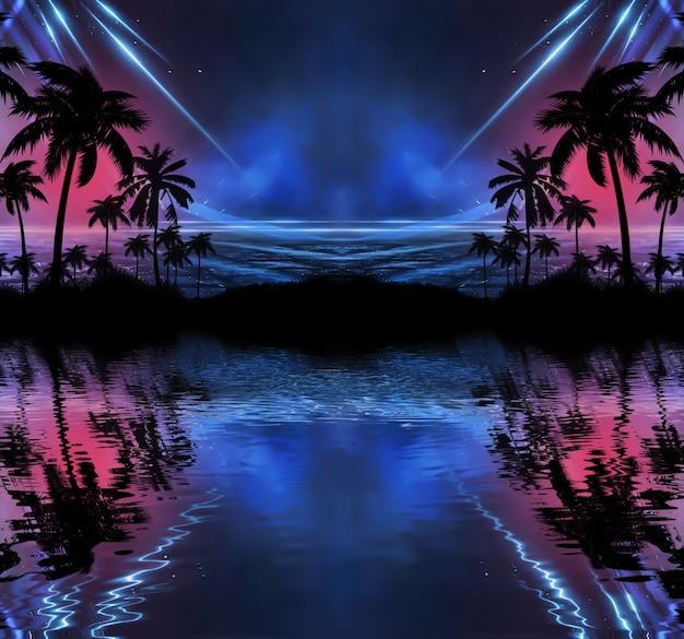 Neon palmboom, tropische bladeren.