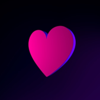 Neon plat hart pictogram. 3d-rendering ui ux interface-element. donker gloeiend symbool.