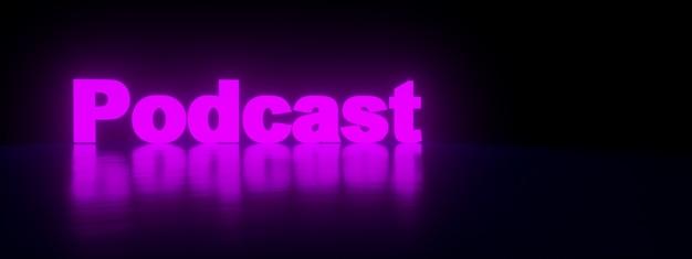 Neon podcast inscriptie over paarse achtergrond, panoramisch beeld, 3d-rendering