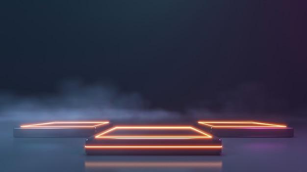 Neon podium met rookmuur. 3d-weergave