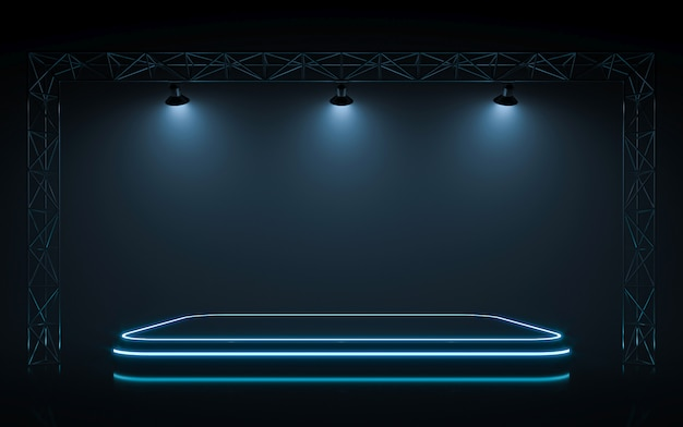 Neon podium met spotlight muur.