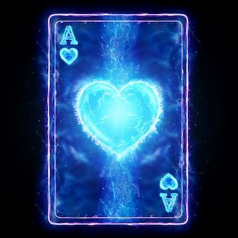 Neon speelkaart aas van harten voor poker, op een zwarte achtergrond isoleren. ontwerpsjabloon. casinoconcept, gokken, koptekst voor de site. kopieer de ruimte, 3d illustratie, 3d render.