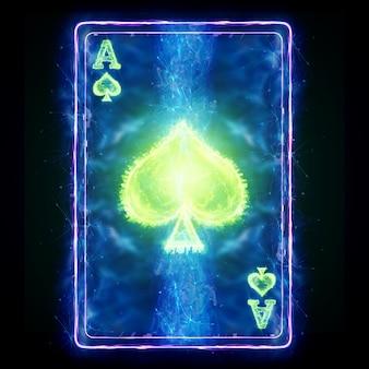Neon speelkaart voor poker ace spade op een zwarte achtergrond isoleren. ontwerpsjabloon. casinoconcept, gokken, koptekst voor de site. kopieer de ruimte, 3d illustratie, 3d render.