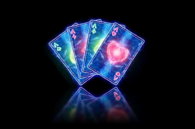 Neon speelkaarten voor poker, vier azen op een donkere achtergrond. ontwerpsjabloon. casinoconcept, gokken, koptekst voor de site. kopieer de ruimte, 3d illustratie, 3d render.