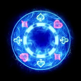 Neon spelen chip op donkere achtergrond, isoleren. ontwerpsjabloon. casinoconcept, gokken, koptekst voor de site. kopieer de ruimte, 3d illustratie, 3d render.