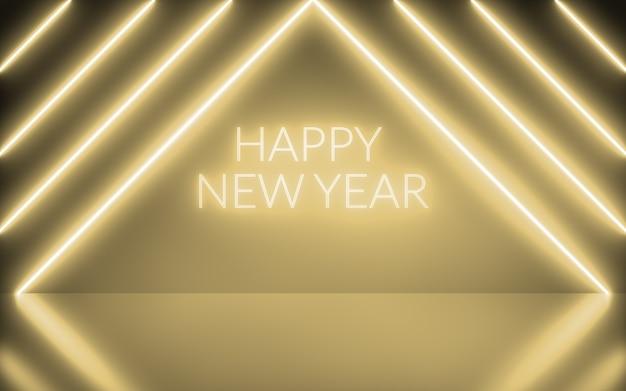 Neonachtergrond abstracte gouden kleur met tekst gelukkig nieuwjaar met lichte vormen driehoekig op gouden en reflecterende vloer, feest en feestelijk concept. 3d-rendering.