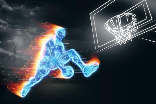Neonbeeld van een professionele basketbalspeler die met een bal springt. creatieve collage, sportflyer. basketbalconcept, sport, spel, gezonde levensstijl. kopieer de ruimte, 3d illustratie, 3d render.